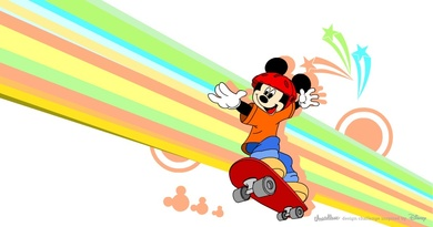 Mickey on the skateboard