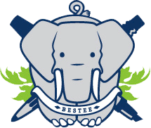 Bestee logo featuring elephant flanked by pen and pencil.