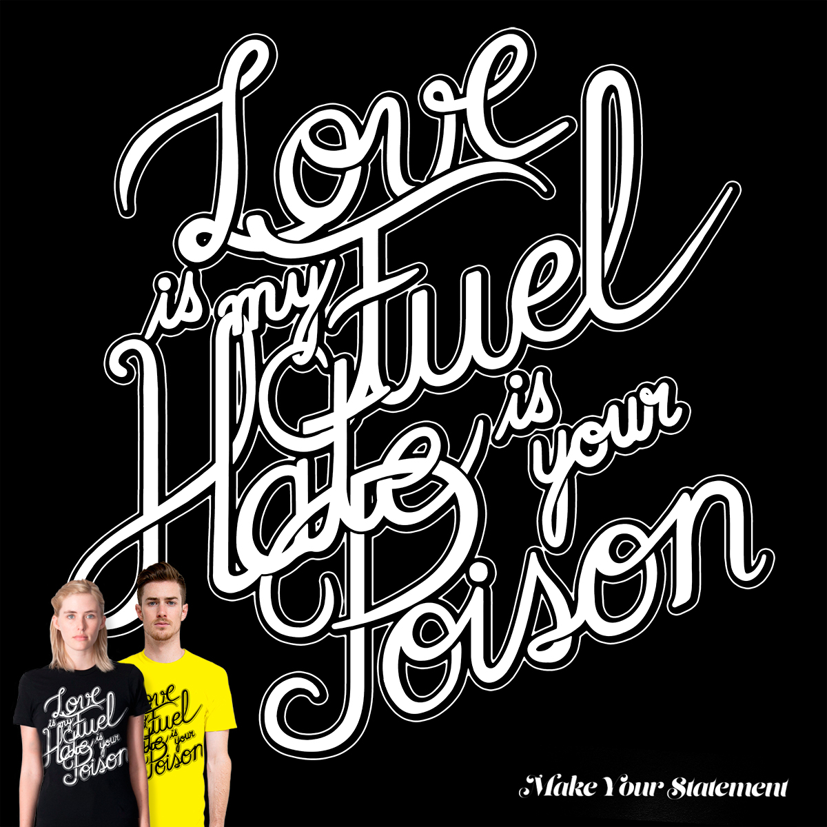 Love & Hate, a cool t-shirt design
