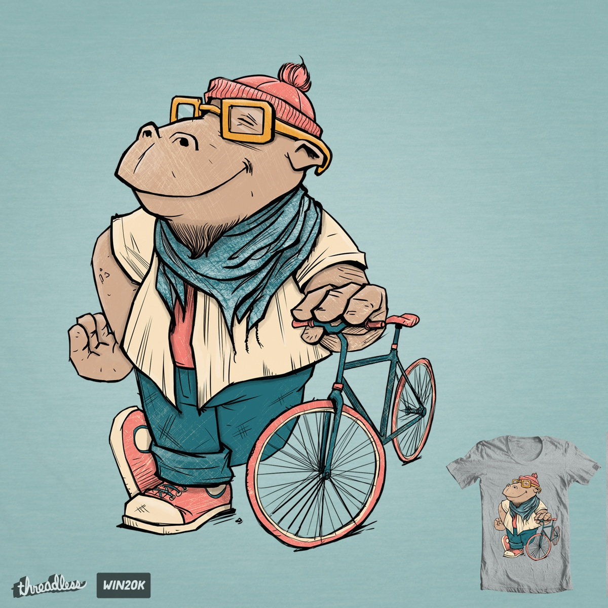 Hipster Hippo, a cool t-shirt design