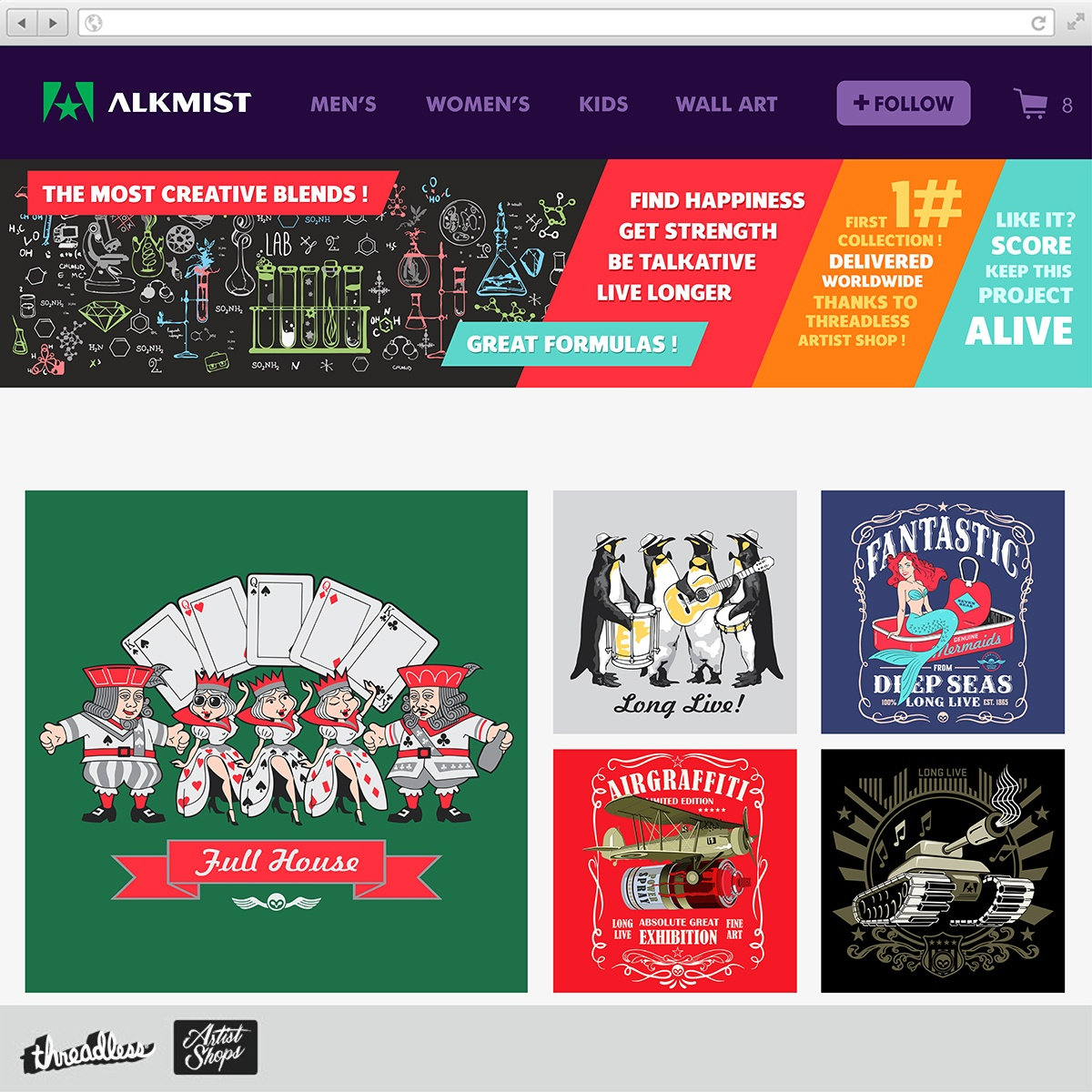 ALKMIST ARTIST SHOP, a cool t-shirt design