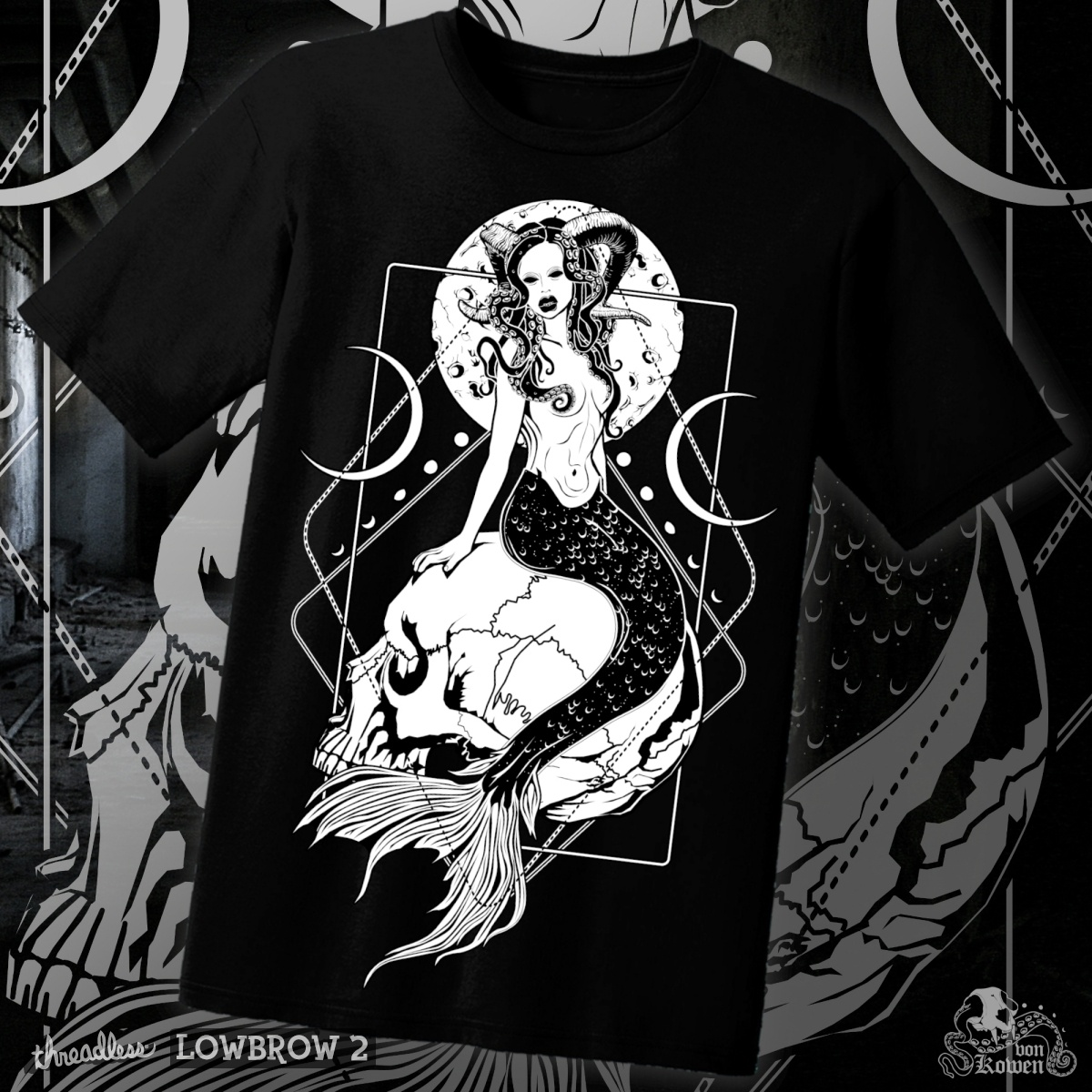 Creepy mermaid, a cool t-shirt design