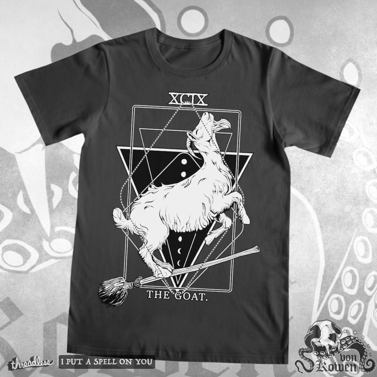 The Goat (on witches broom), a cool t-shirt design