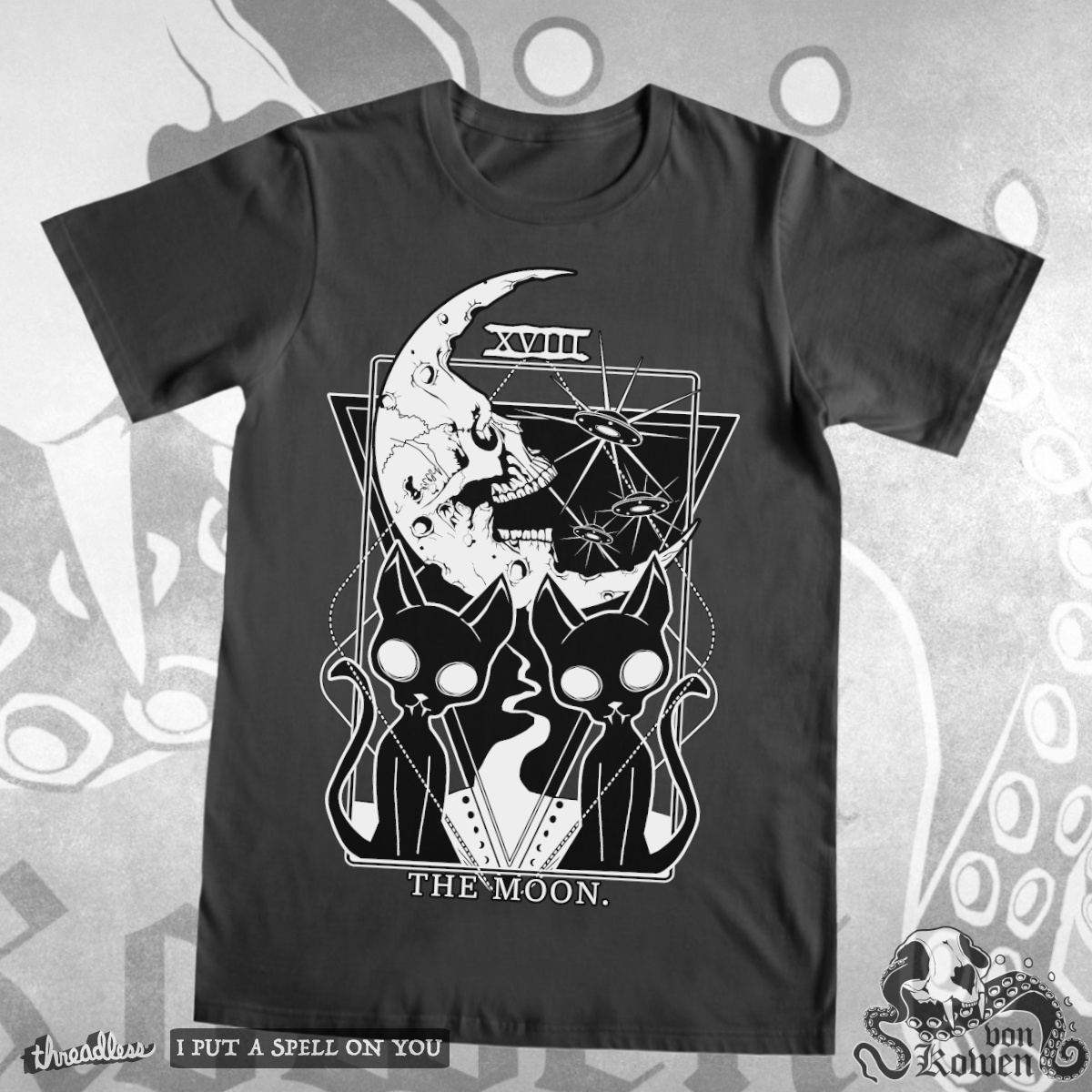 The Moon Tarot card, a cool t-shirt design